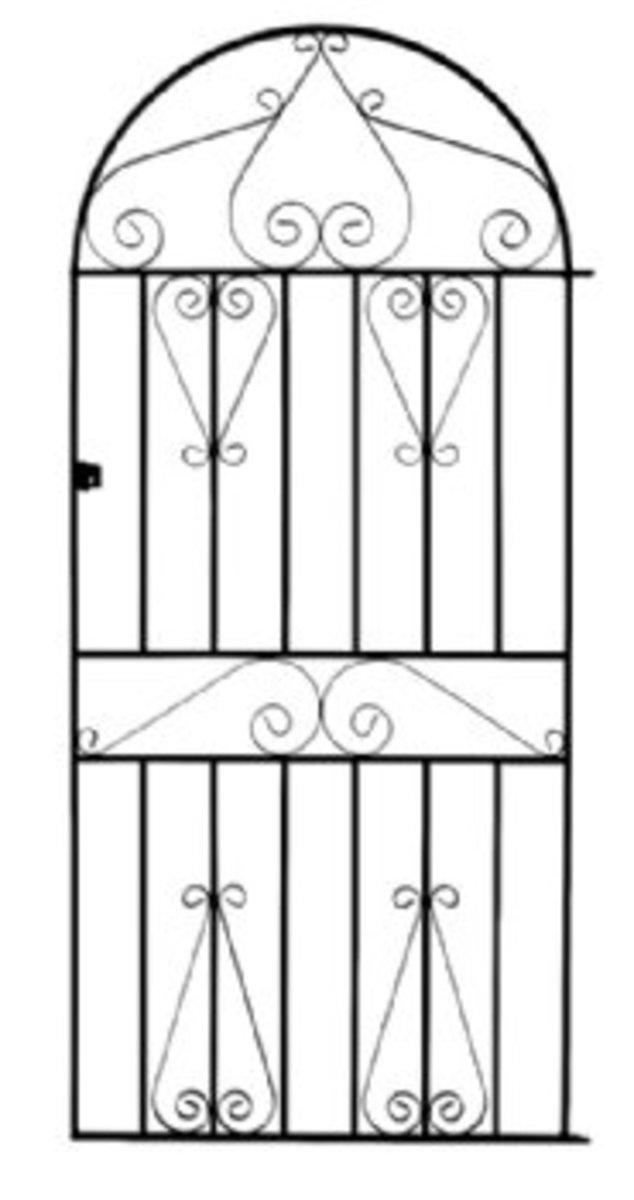 Wrought Iron gates - Tall single side entrance iron gates - York bow top gate