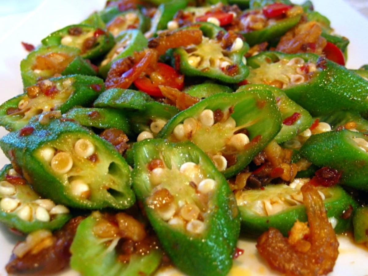 Malaysian Style stir-fried okra with dried shrimp