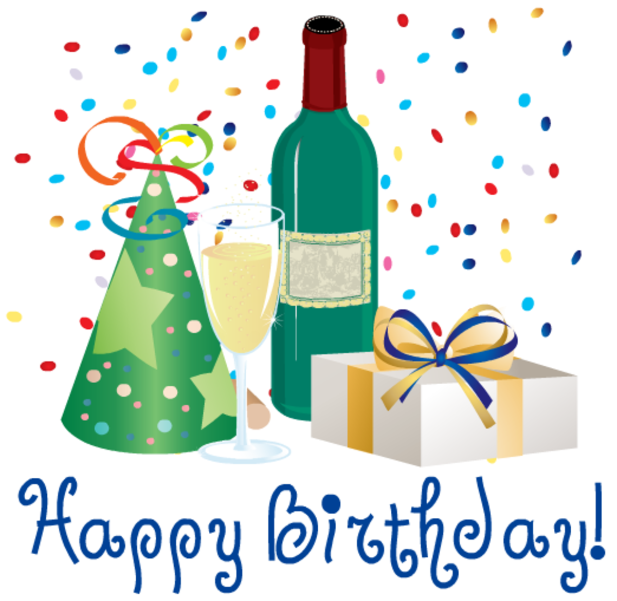 Birthday hat, wine, wine bottle  and present clipart