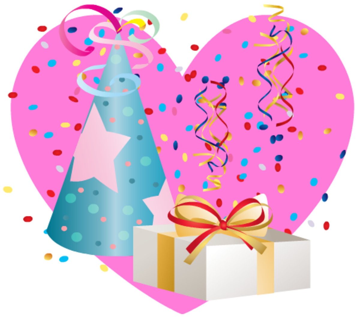 Pink heart with birthday hat and present clipart