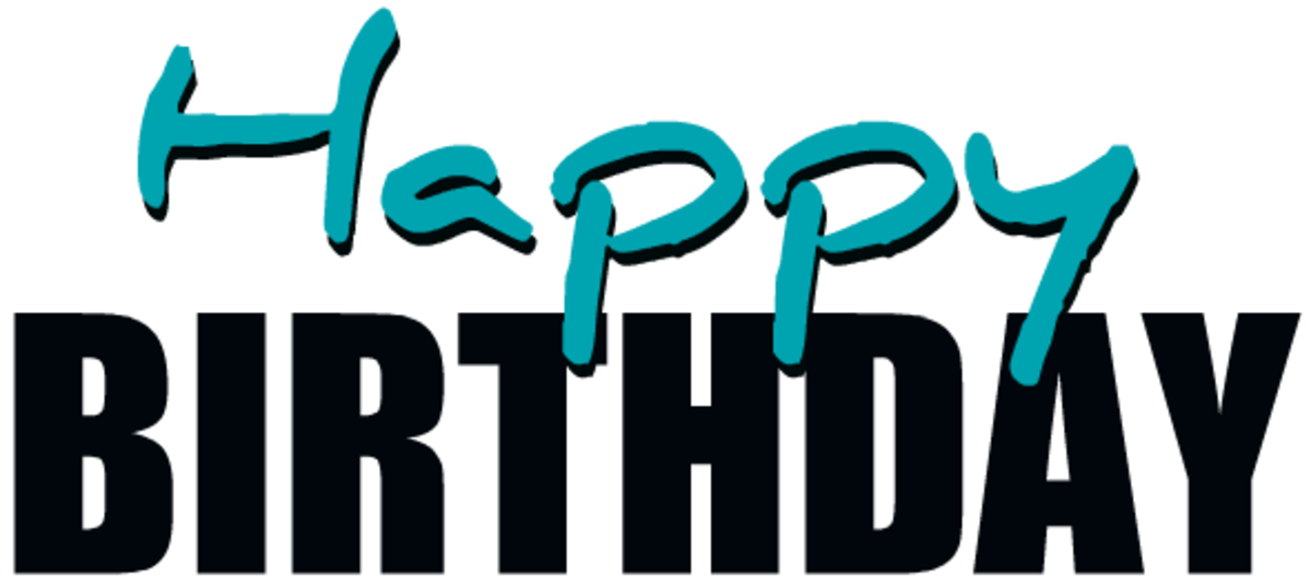 Teal happy birthday clipart
