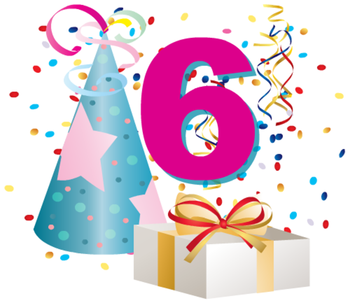 6 birthday clipart