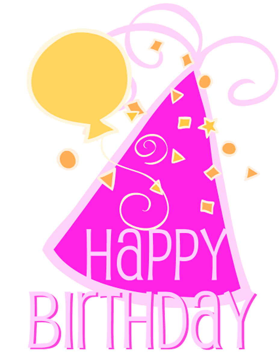Free birthday clip art birthday hat, confetti and balloon