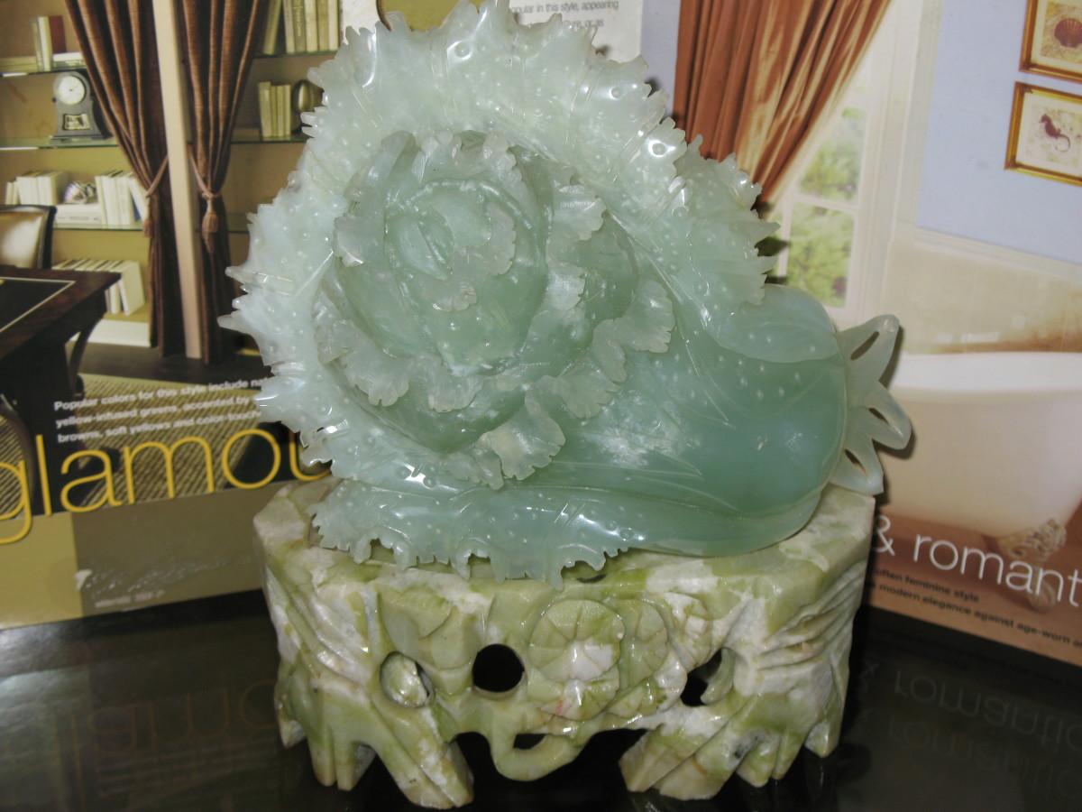 jade boy choy with jade stand