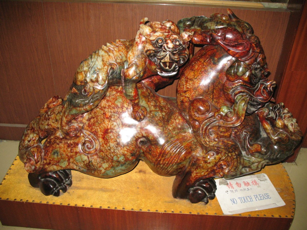 Amazing jade carving is about 3 feet long
