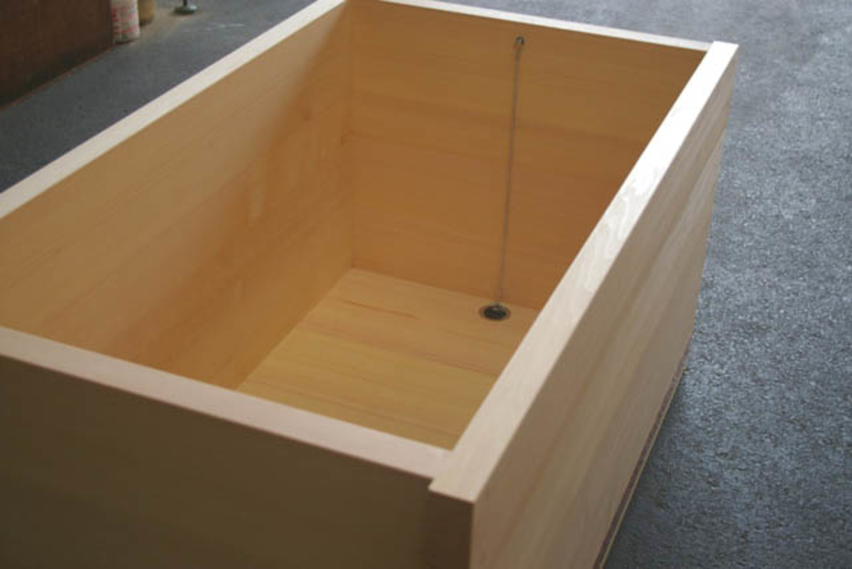 mellow colored wooden japanese hot tub