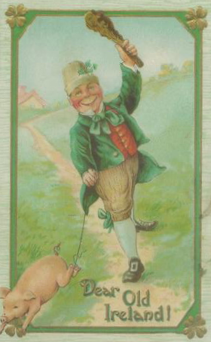 "St. Patrick's Day cards: Irish lad in green coat with pig ""Dear Old Ireland"""