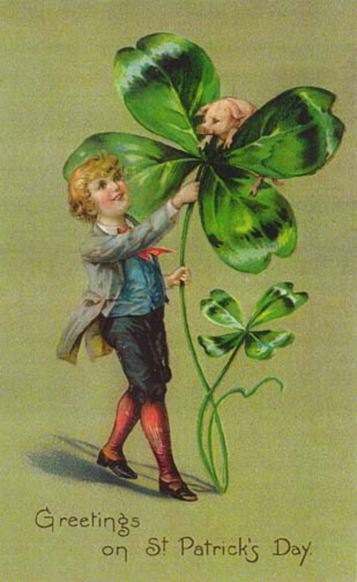 """St. Patrick's Day cards: Irish lad with large shamrock and pig """"Greetings on St. Patrick's Day"""""""