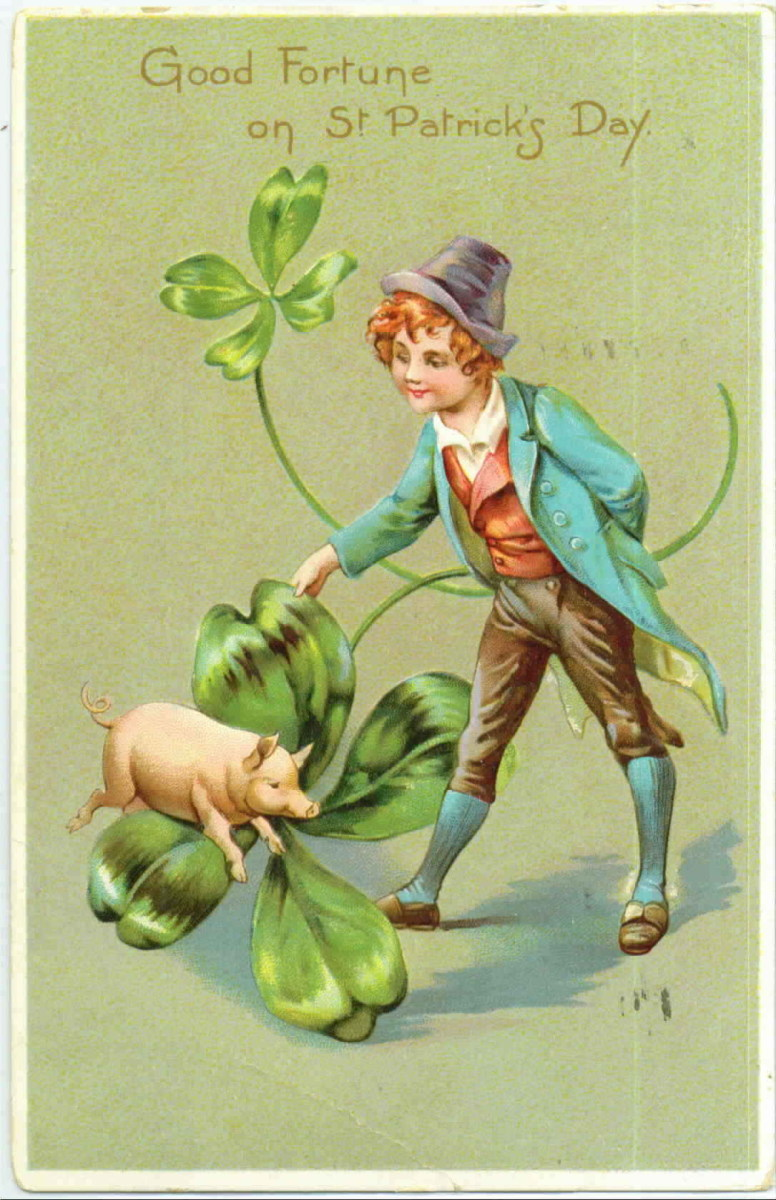 """St. Patricks Day cards: Irish lad with shamrocks and pig """"Good Fortune on St. Patrick's Day"""""""