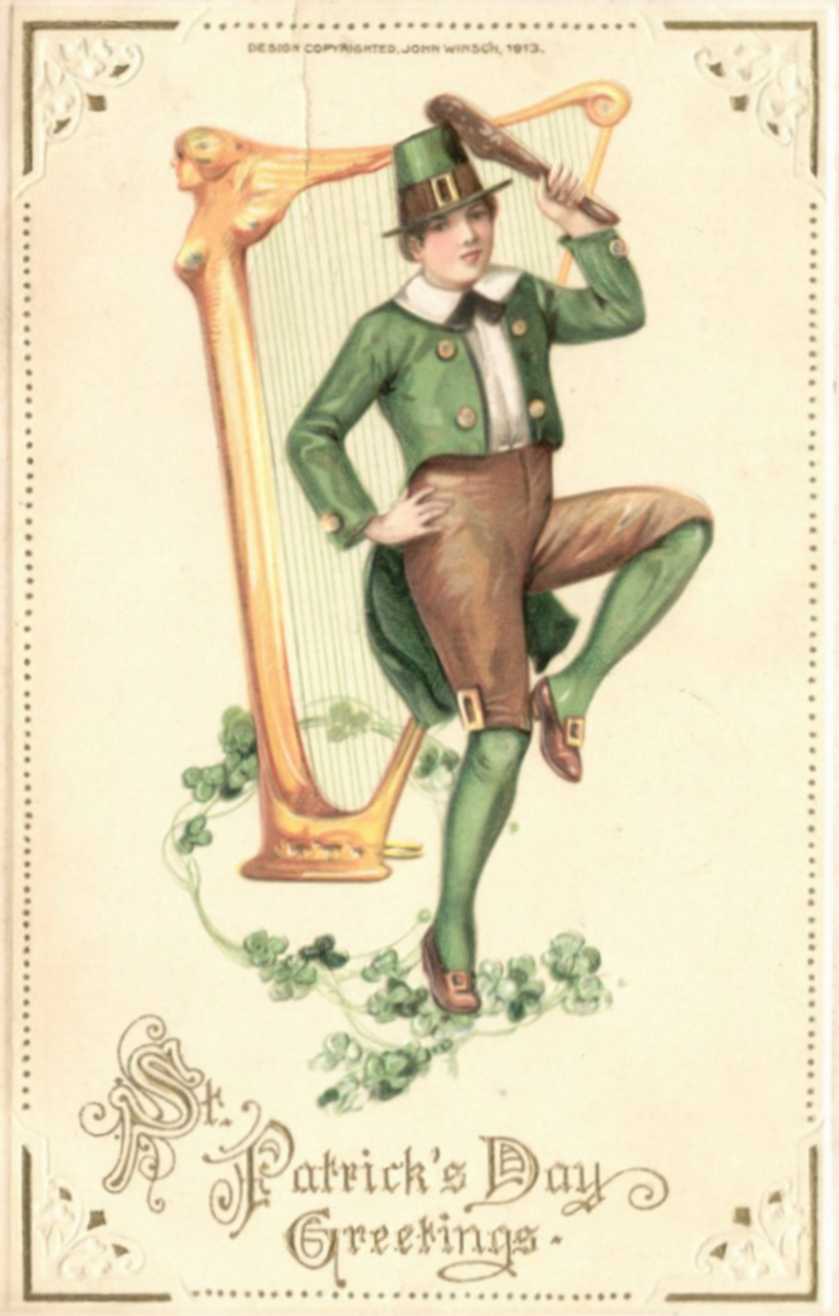 "Saint Patricks Day cards: Irish lad dancing on shamrocks in front of a harp ""St. Patrick's Day Greetings"""