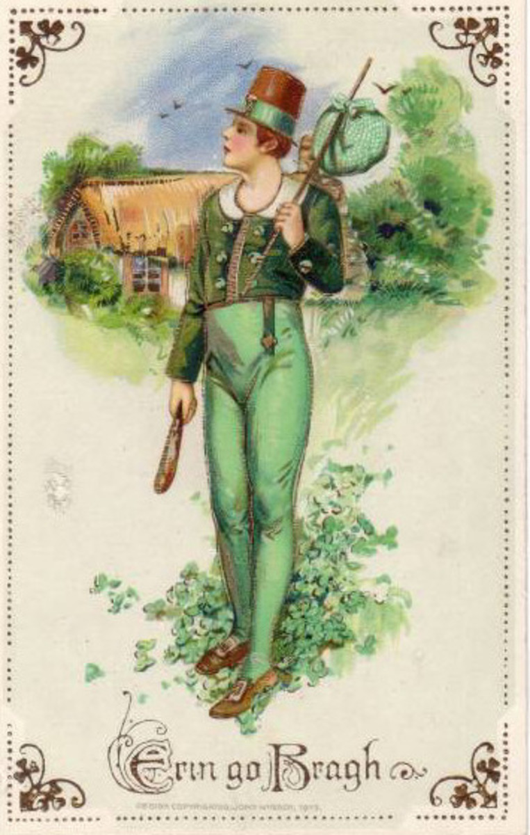 "St. Patrick's Day cards: Irish lad in green pants ""Erin go Bragh"""