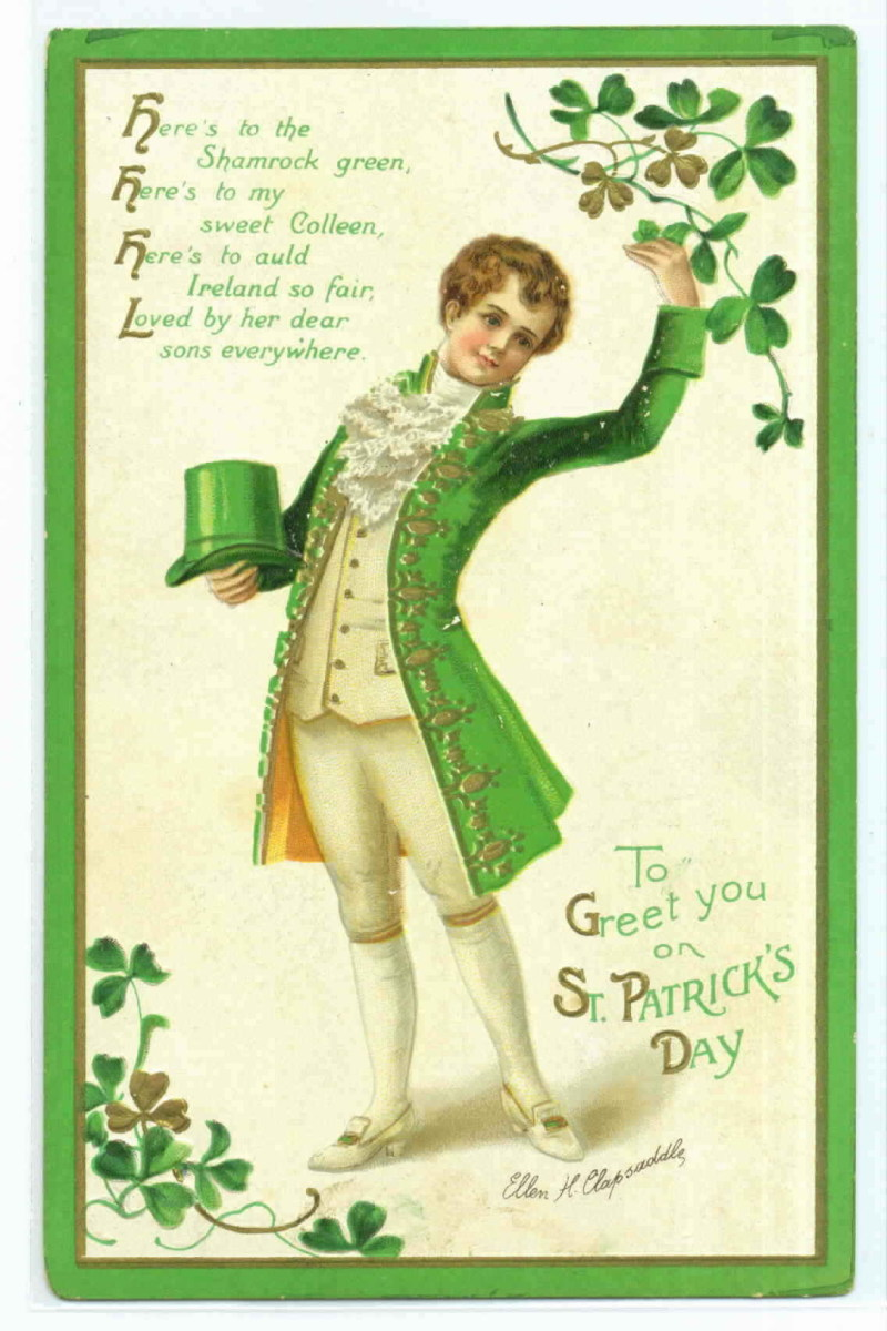 """St. Patrick's Day cards: Colonial Irish lad in green coat with green top hat and shamrocks """"To Greet You on St. Patrick's Day"""""""