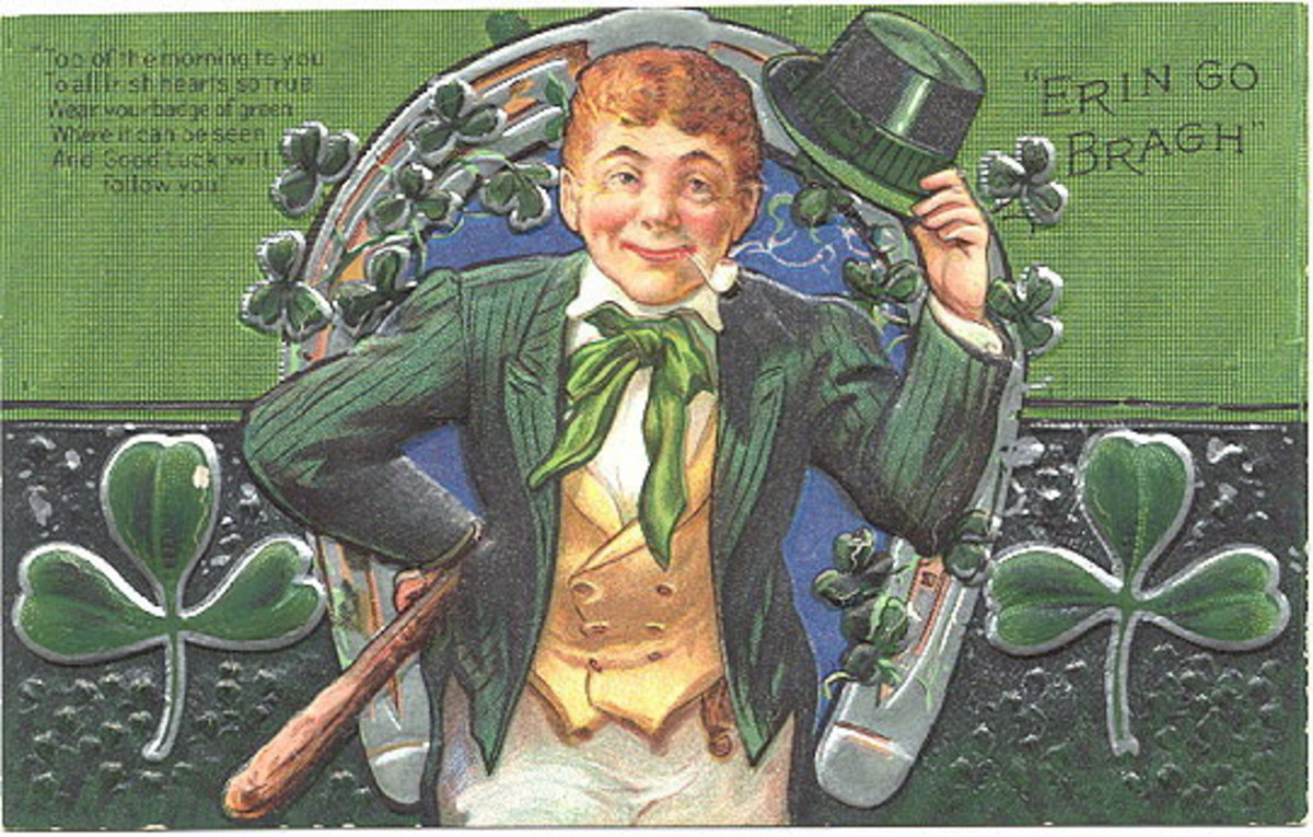 "St Patricks Day cards: Irish lad in green coat with green top hat in front of shamrock design ""Erin Go Bragh"""