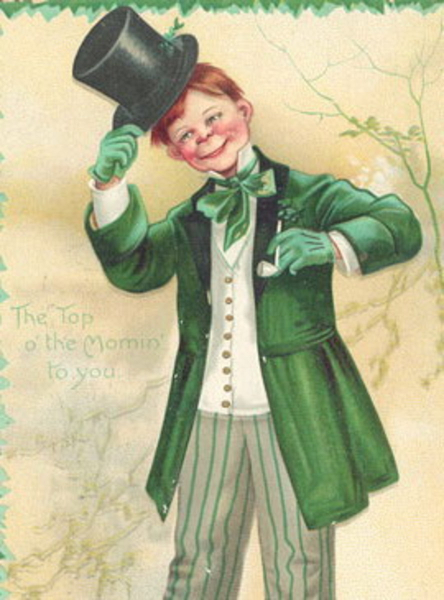"St. Patrick's Day cards: Irish lad in green coat with black top hat ""The Top 'o the Mornin' to You"""