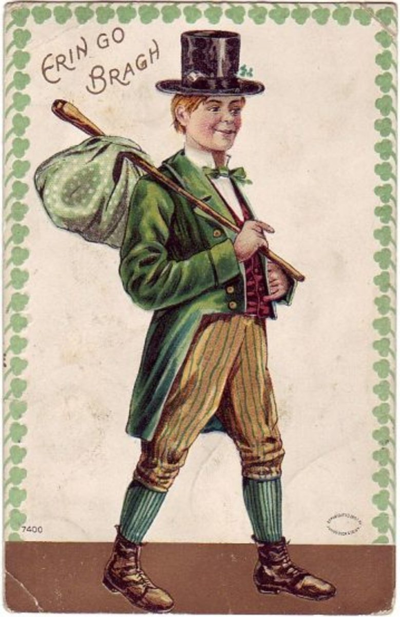 "Saint Patrick's Day cards: Irish lad with bindle ""Erin Go Bragh"""