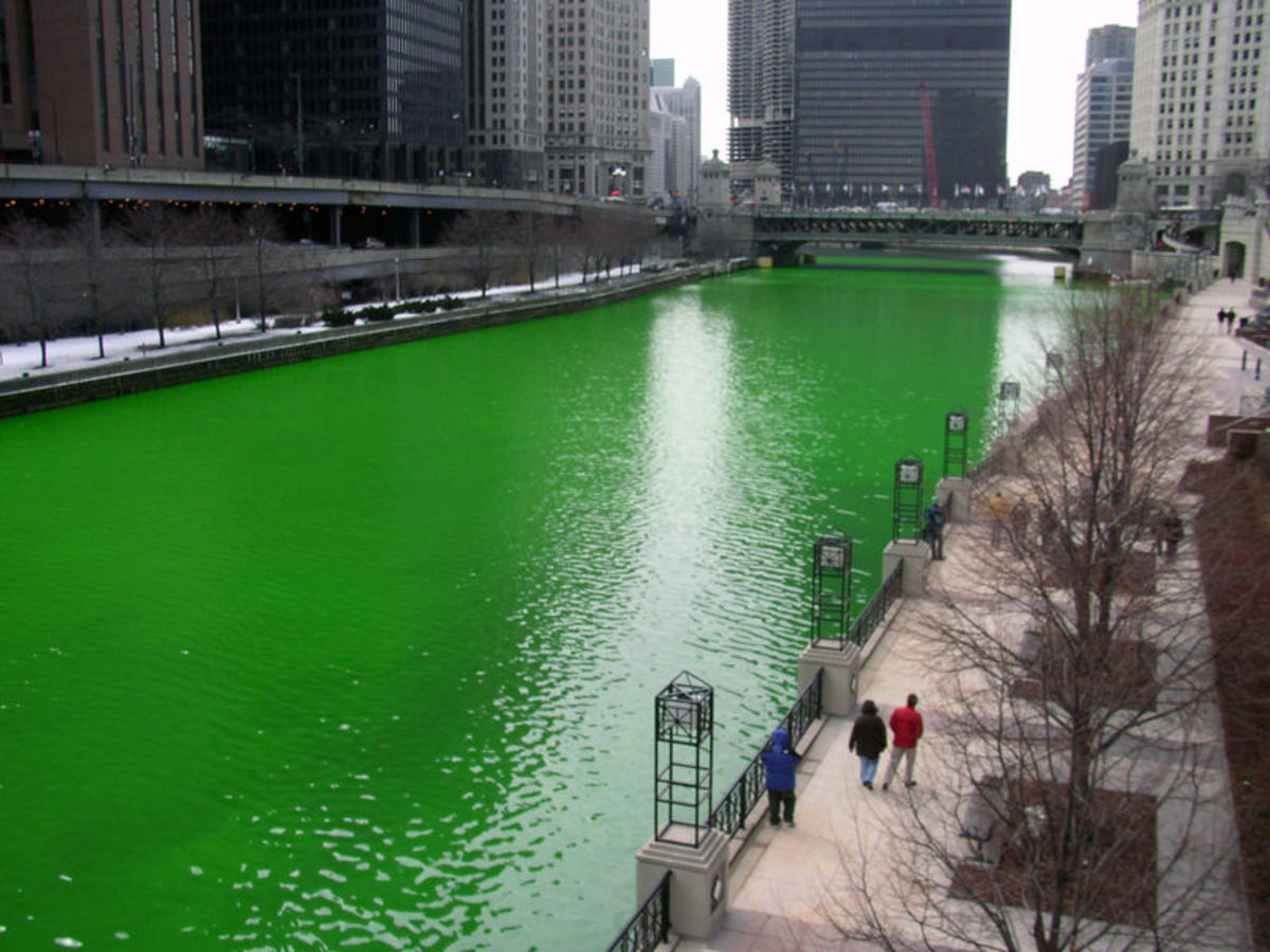 The Chicago River is dyed green each year for the St. Patrick's Day celebration, shown here in 2008.