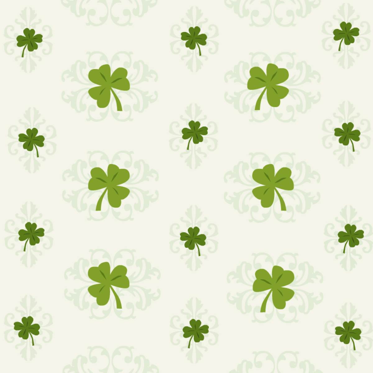 Free St. Patrick's Day scrapbook papers: Green shamrocks and scrollwork on an ivory background