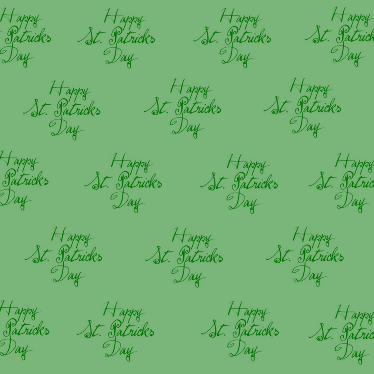 Free happy St. Patrick's Day scrapbook papers: green background