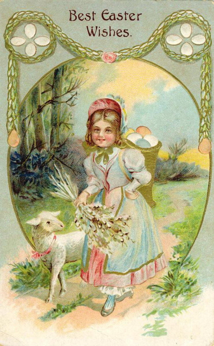 Vintage Easter card cute kid with lamb and large basket of Easter eggs