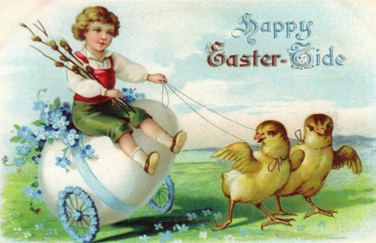 Vintage cute kid riding a large Easter egg in a pull cart pulled by two yellow baby chicks