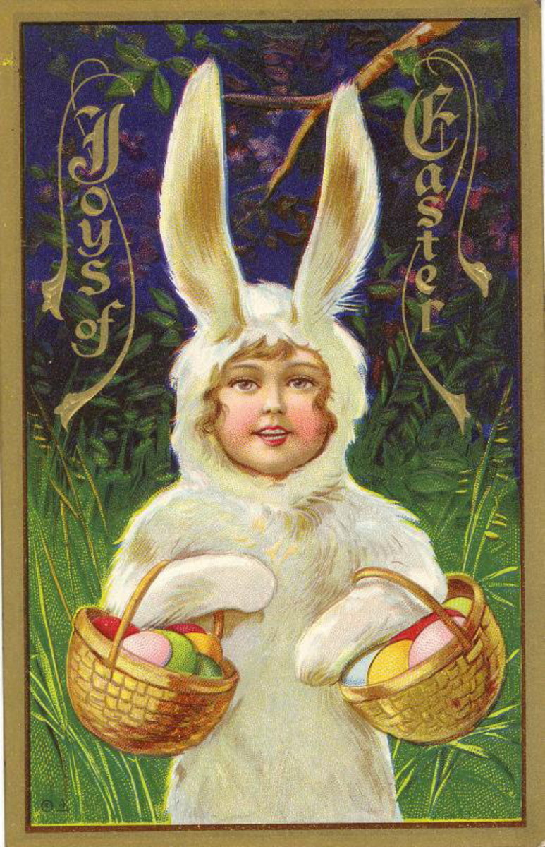 Little kid in Easter bunny costume carrying Easter baskets vintage card