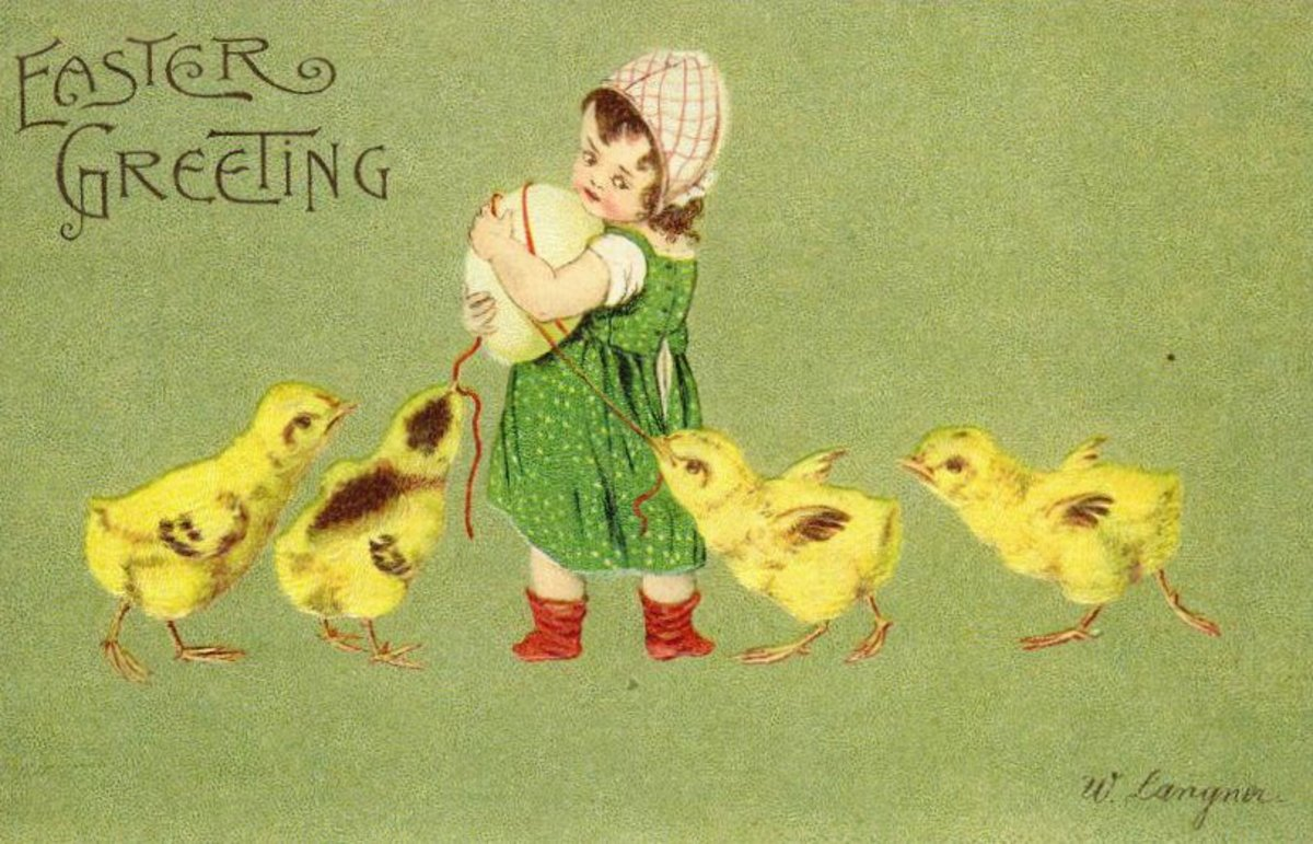 Vintage Easter card: Cute kid with yellow baby chicks