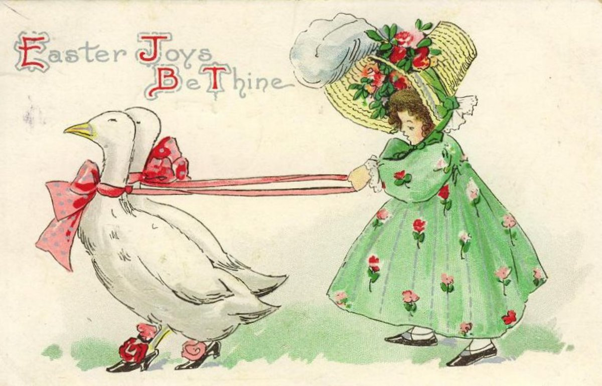 Vintage little girl in green dress and bonnet walking a white goose