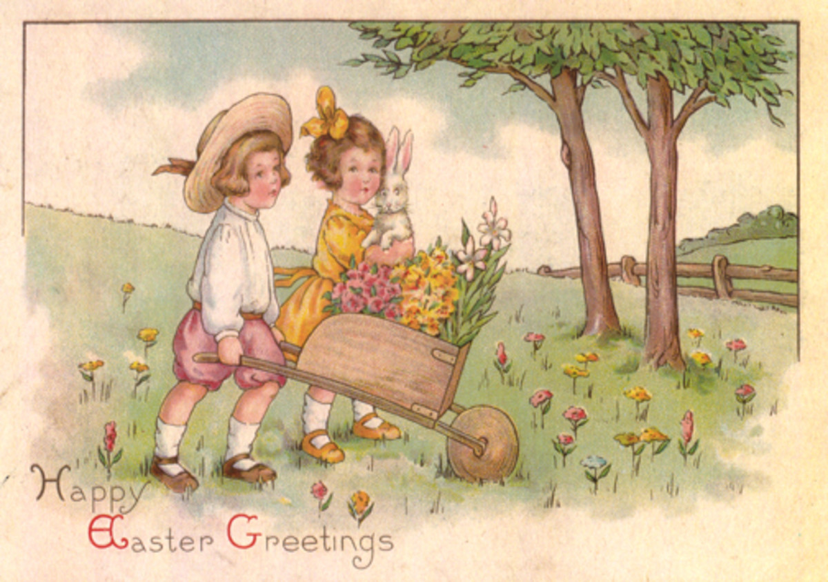 Vintage Easter cards: Two cute kids carrying an Easter bunny and pushing a wheelbarrow filled with spring flowers