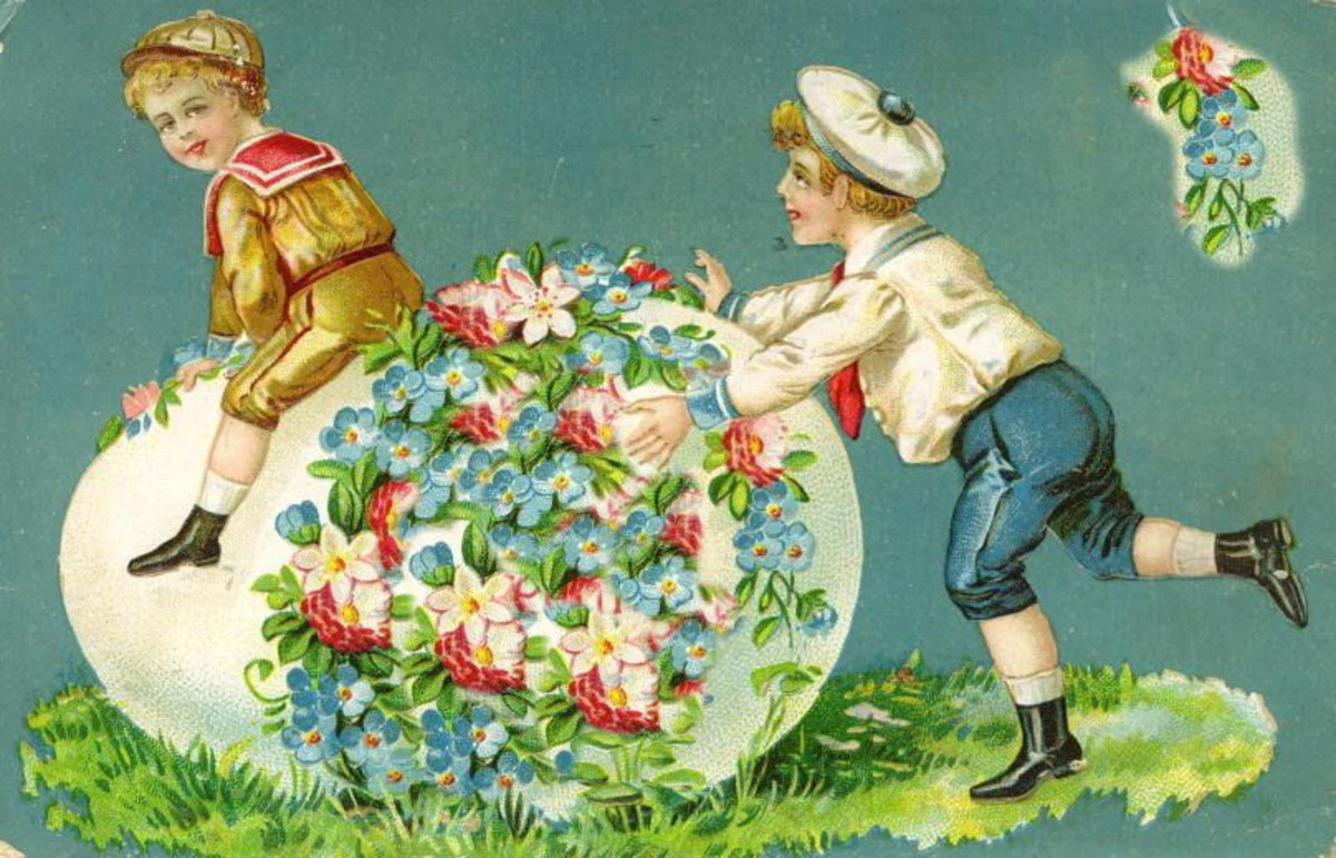 Two vintage cute kids with a large floral Easter egg covered with flowers