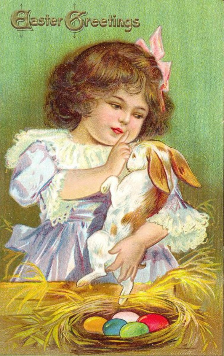 Little girl with Easter bunny vintage greeting card