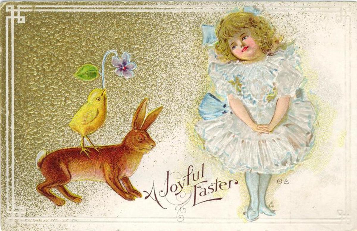 Vintage Easter cards: Little girl in a white, frilly dress with an Eater bunny and a baby chick