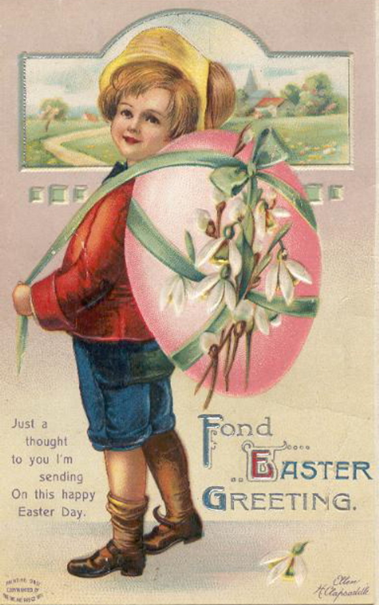 Vintage cute kid Easter card: little boy with pink egg and flowers