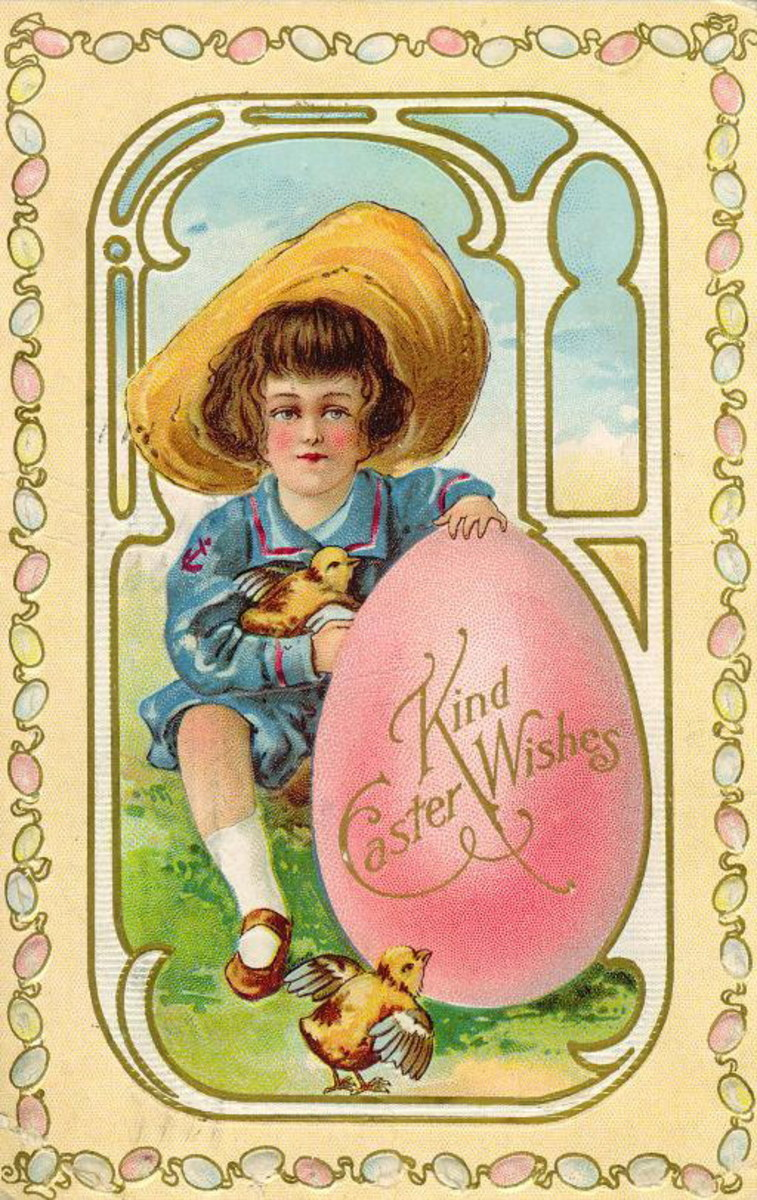 Vintage cute kid in a sailor hat with large pink Easter egg