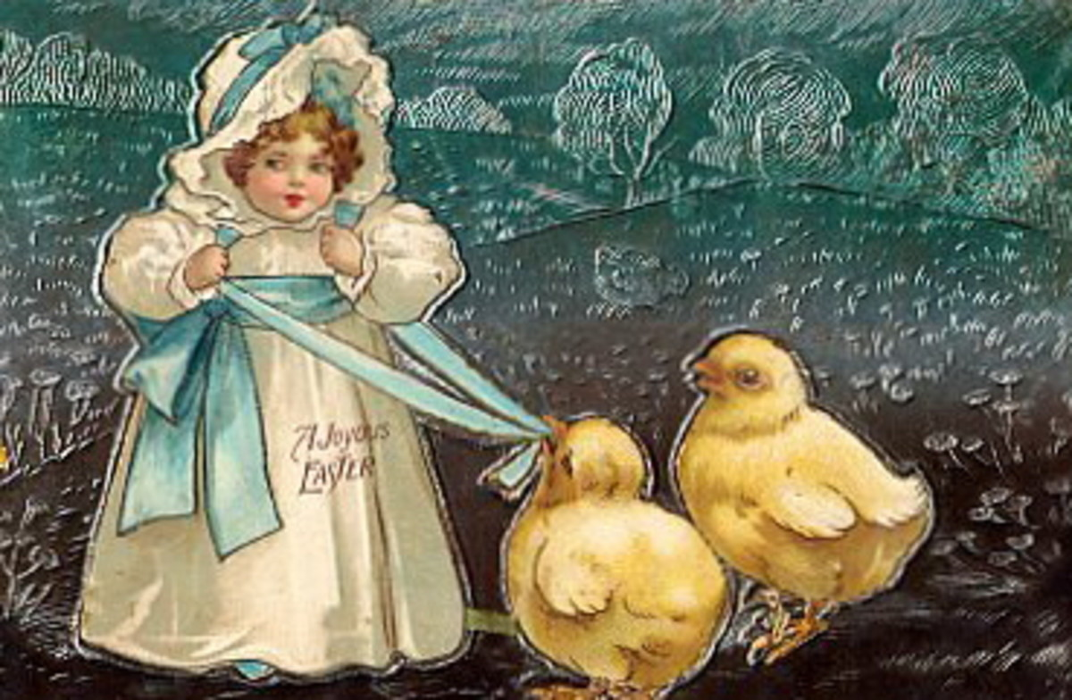 Little girl in a white dress and bonnet with two large yellow baby chicks