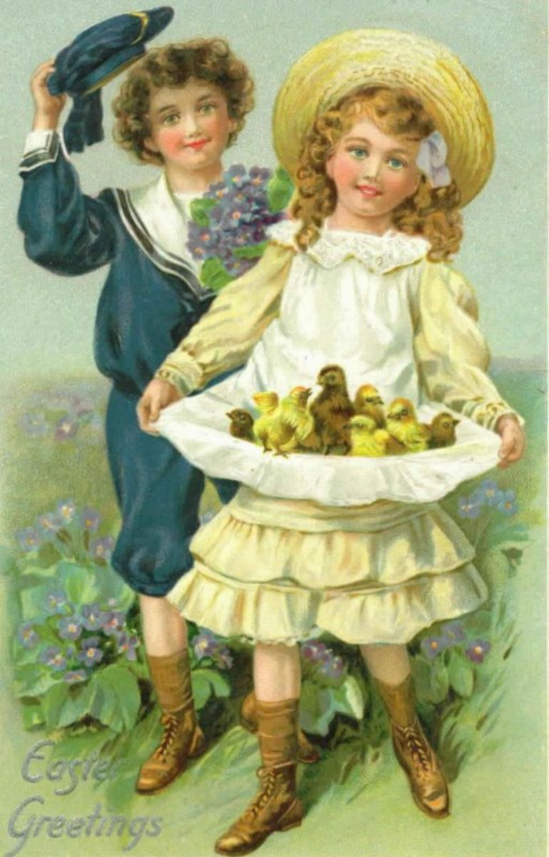 Two cute kids carrying baby chicks vintage Easter card