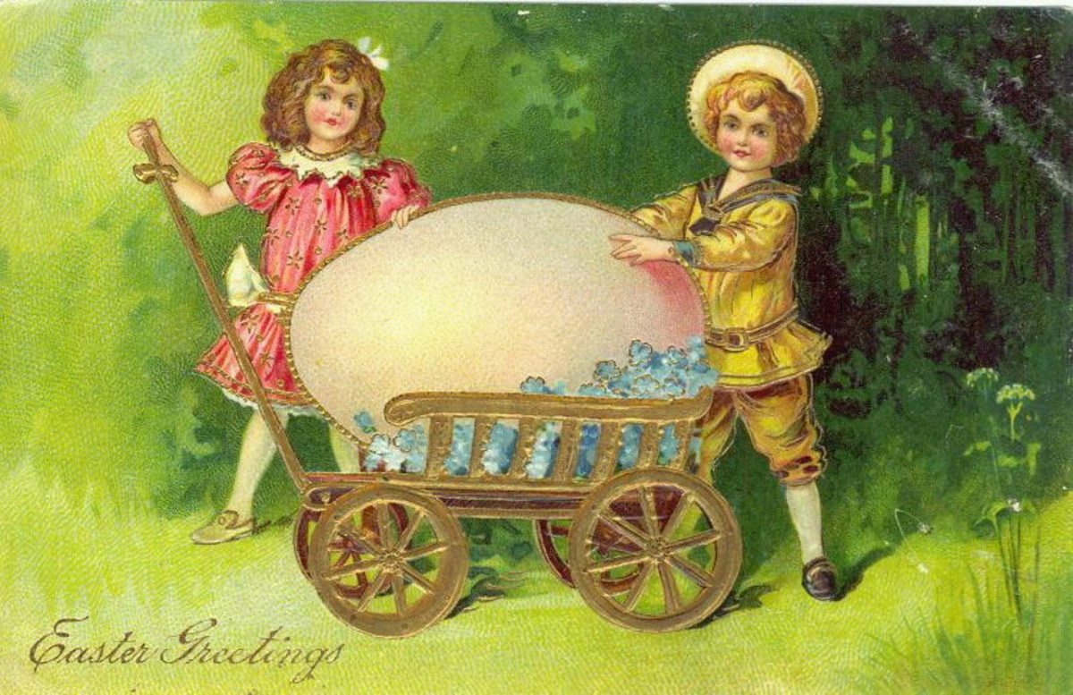 Two cute kids with a giant  Easter egg in a golden pull cart