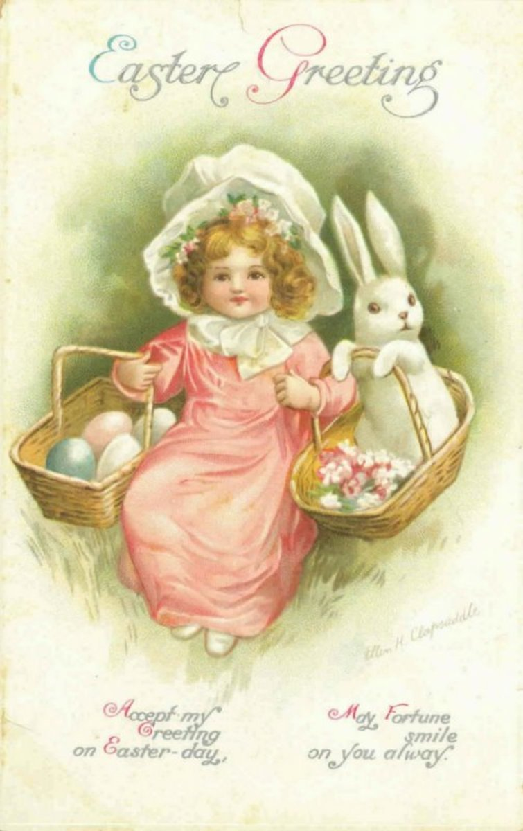 Vintage Easter card: Little girl in pink with white bonnet, Easter bunny and Easter baskets