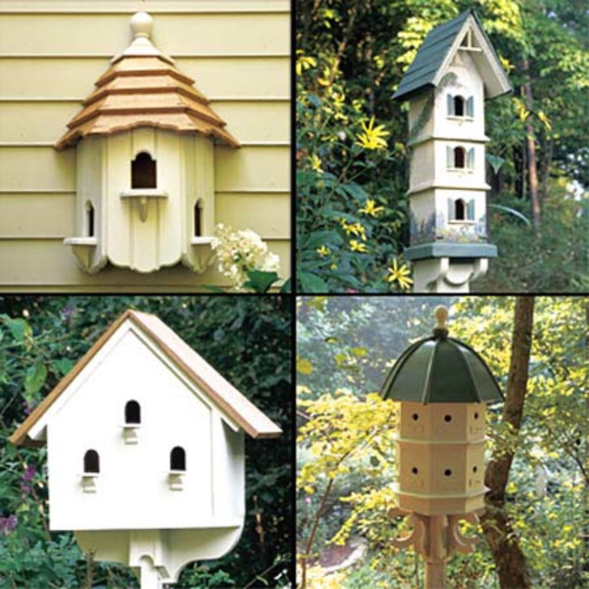 Build or purchase bird houses and put them up around your yard and garden to encourage birds to live there. Be sure you can open up the bird houses each year and clean them out.