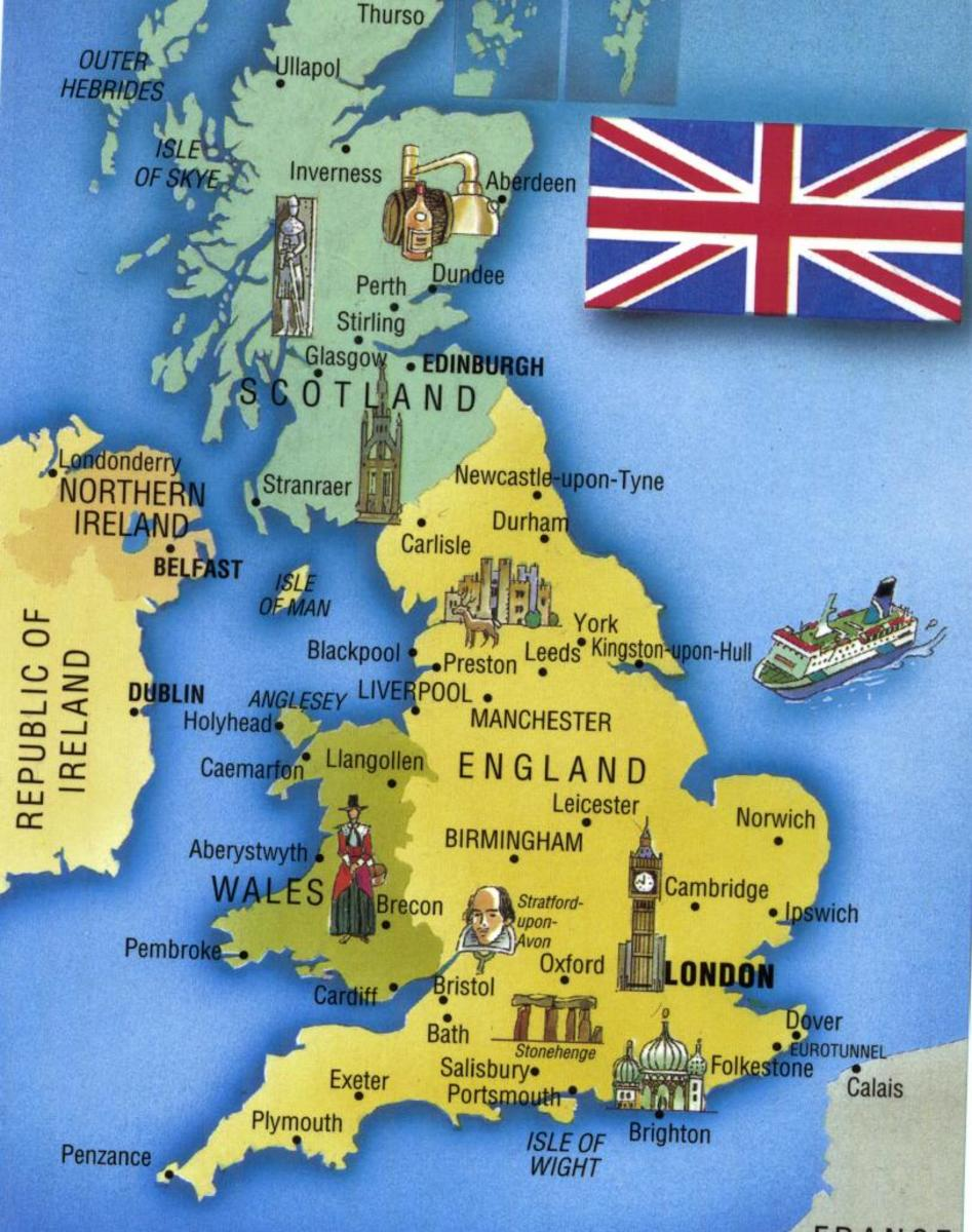 Tourist Map of the United Kingdom