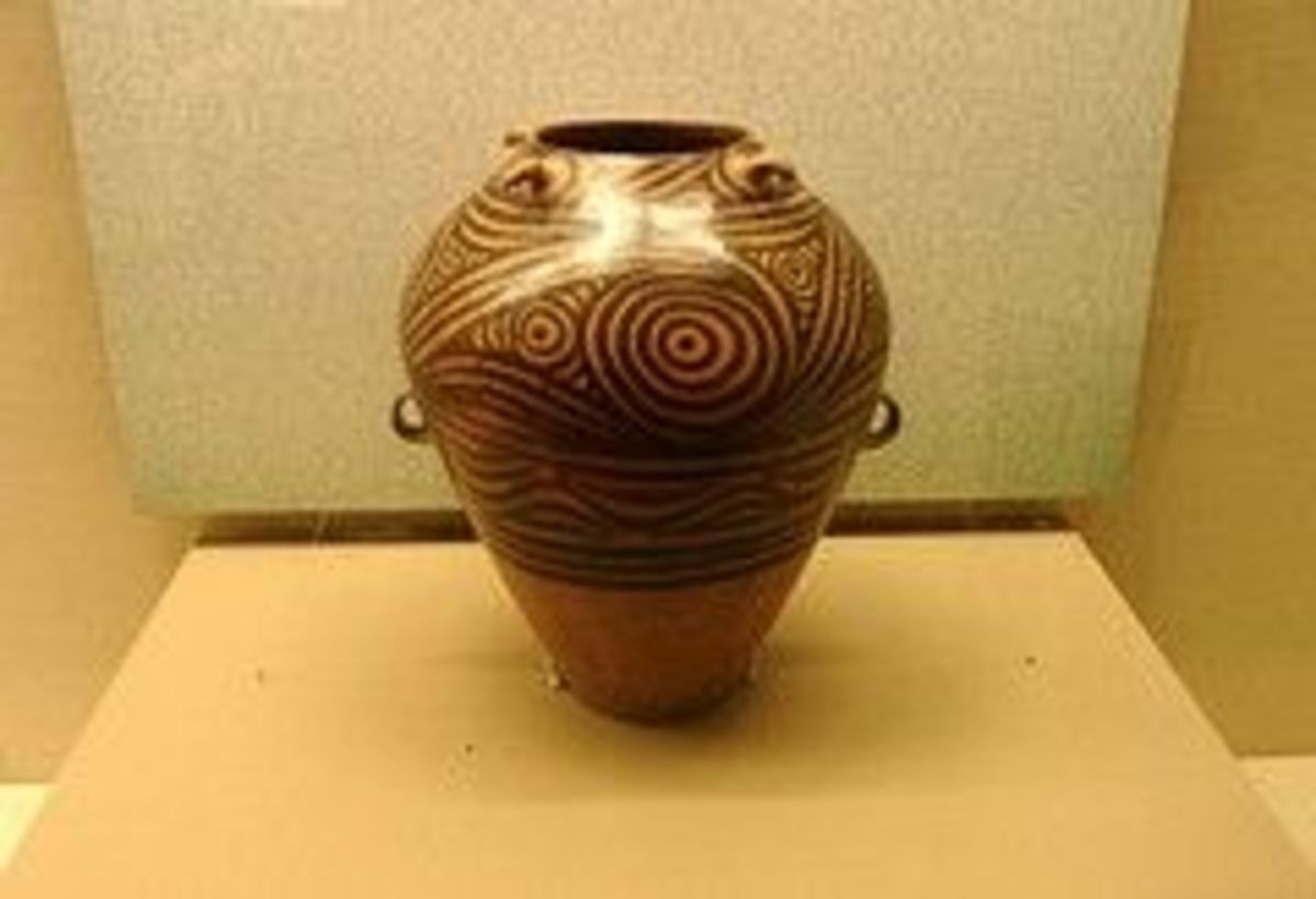 Running Spiral Design Coloured Pottery (Wo Wen Cai Cao Guan)