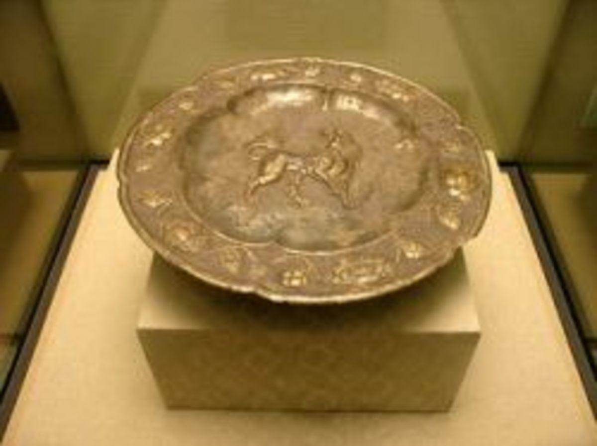 Gilded Silver Plate with Lion Pattern (Shi Wen Liu Jin Yin Pan )