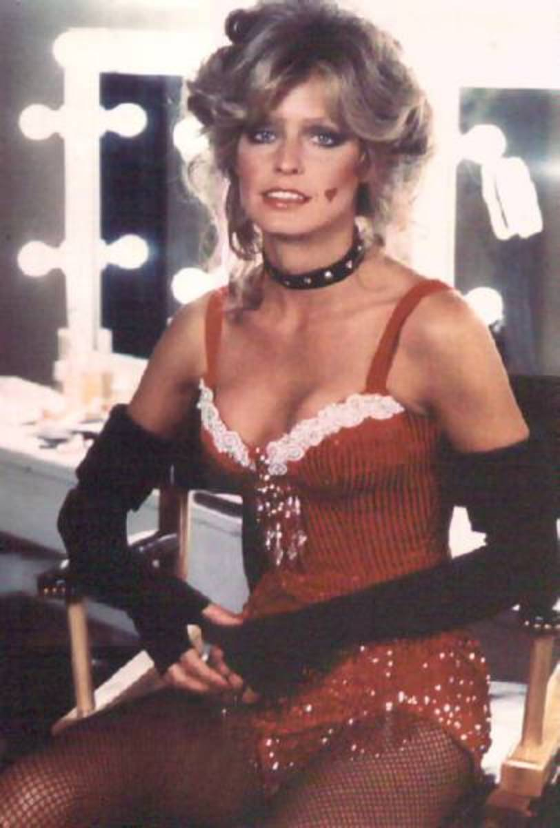 Farrah Fawcett posing in a dressing room