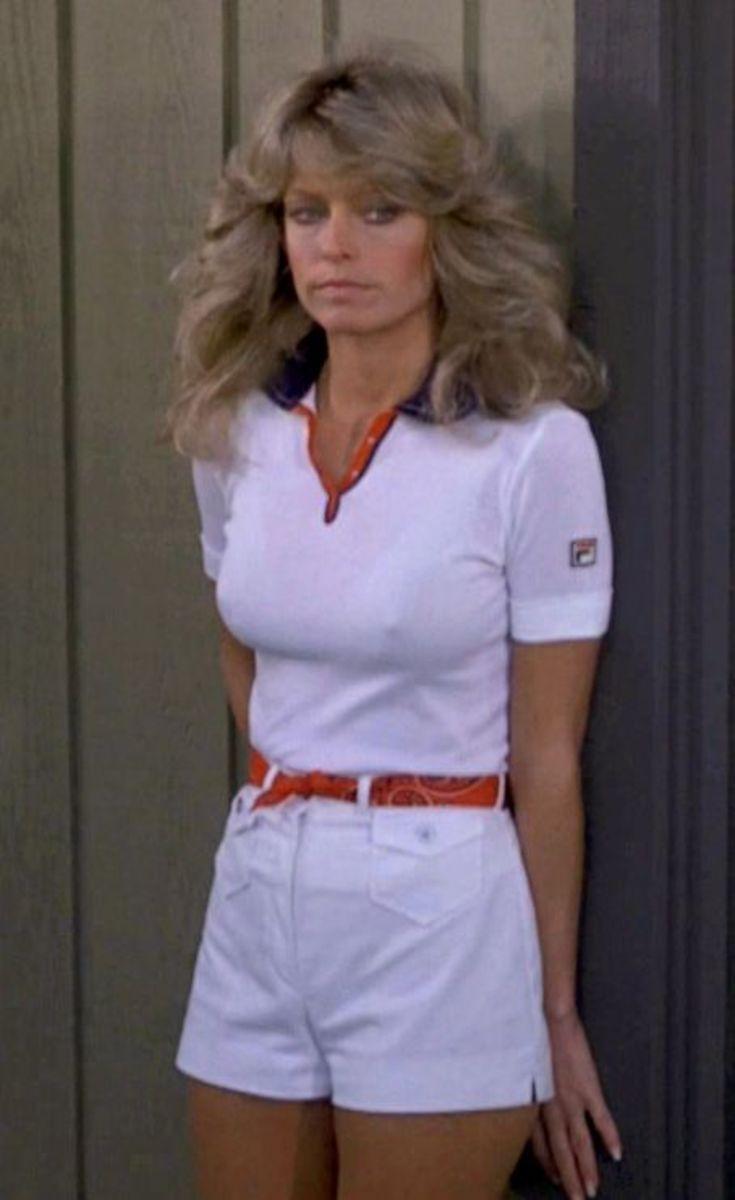 Hot Farrah Fawcett posing in classic 70's short shorts