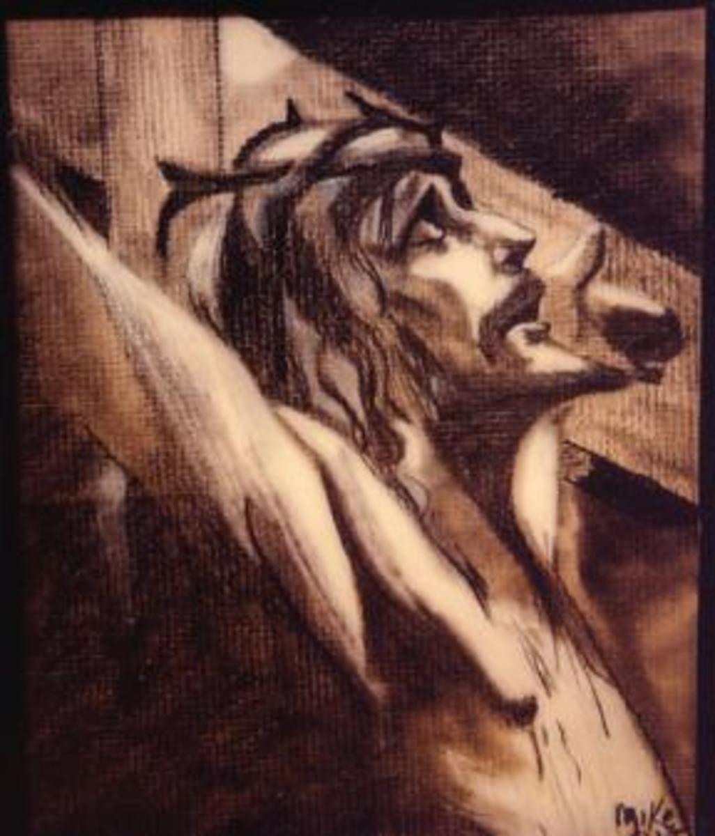 """Jesus on the cross"" wood carving"