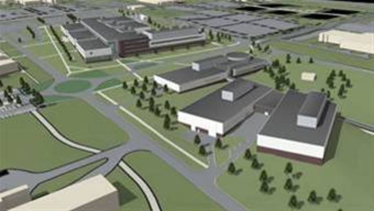 Artist concept of new 711th Human Performance Wing complex to be constructed at Wright-Patterson AFB.