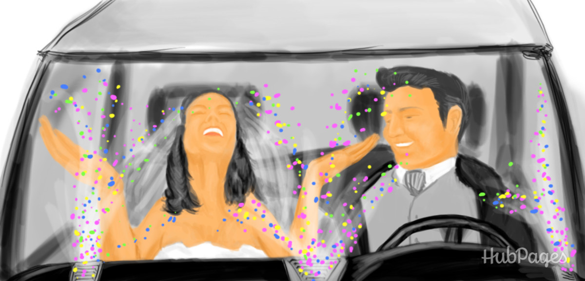 If the bride has already pulled a prank on you, get her back by filling the AC vents of the getaway car with confetti.