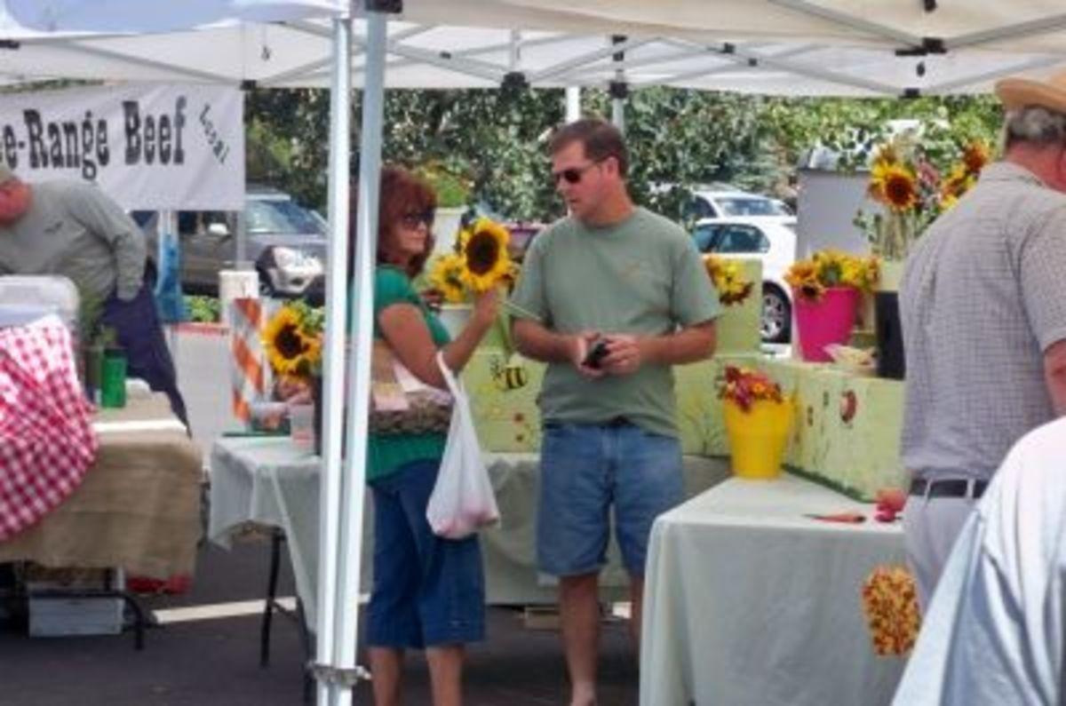 Selling flowers at the Flagstaff, Arizona, farmers market