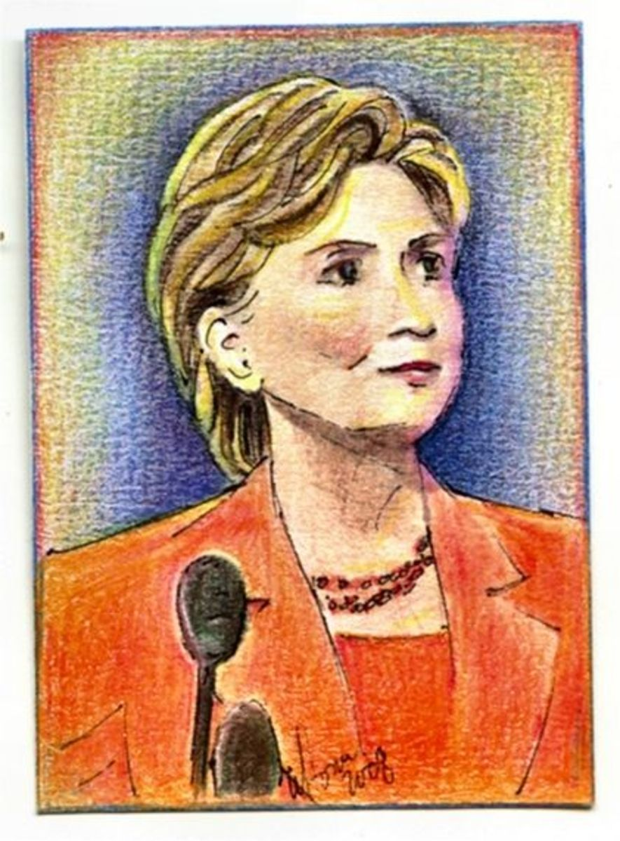 ACEO Portrait of Hillary Clinton by Tonie Cook