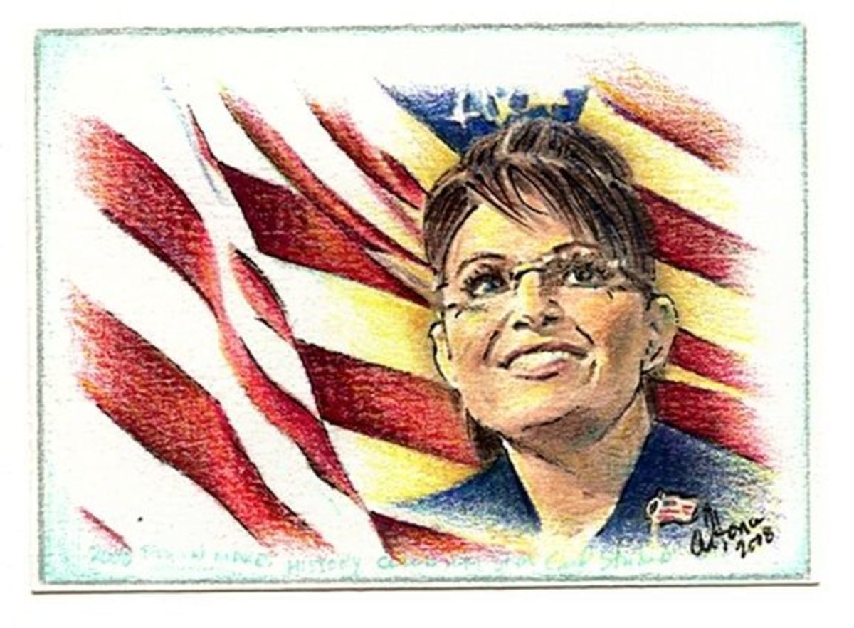 ACEO Portrait of Sara Palin by Tonie Cook