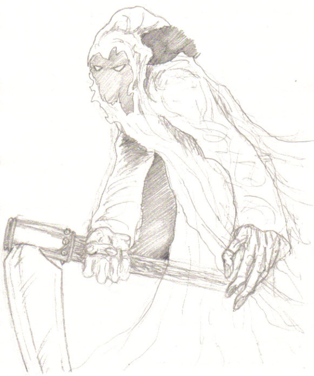 Second pencil sketch of the grim reaper.